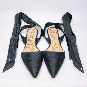 Sam Edelman Leather Sole Black Lace Up Flats